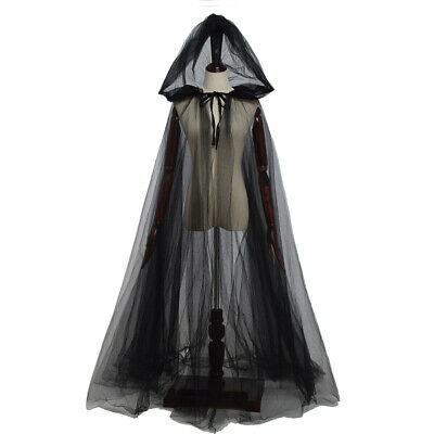 Women's The Haunted Costume Hooded Cape Ghost Costume Bride Hooded Cape Cloak