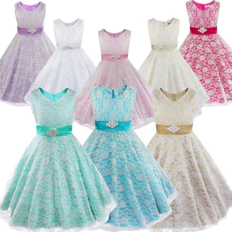 Blumenmädchen Fest Kleid Festzug Tutu Taufkleid Flowergirl Dress ZuverläSsige Leistung Kleidung & Accessoires