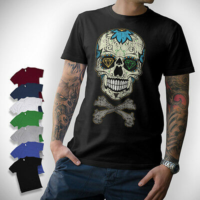 SUGAR SKULL T-SHIRT - Totenkopf Oldschool Rockabilly Vintage Mexican Diamond