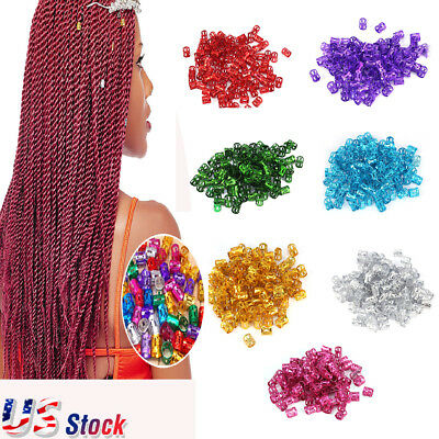 100pcs Hair Braid Ring Beads Dreadlocks Cuff For Hair Extension Jewelry Decor US