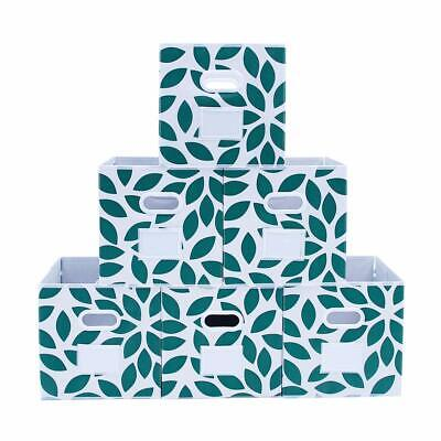 Fabric Storage Bins Cubes Baskets Containers, Flodable, Green, Set of 6
