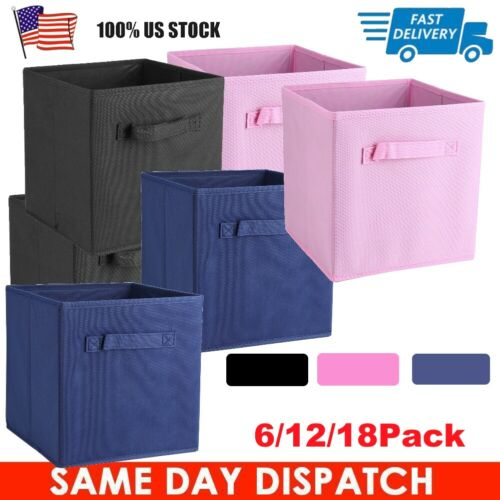 6-18 Pack Fabric Storage Cube Basket Fabric Drawers Best Cub