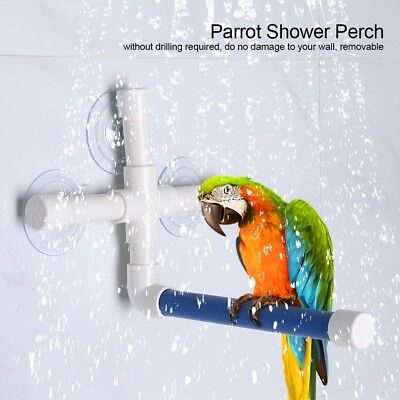 Pet Parrot Bath Shower Perches Standing Platform Rack Suction Wall Cup Bird Toys