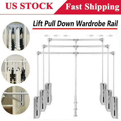 Adjustable Soft Return Wardrobe Rail Lift Pull Down Closet Rod Room Cabinet Rack
