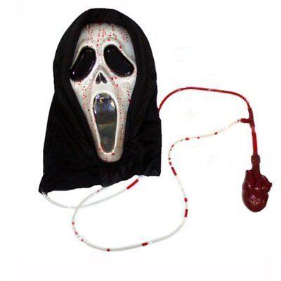 Bleeding Scream Ghostface Ghost Face Pumping Blood Halloween Fancy Dress Mask - Scream Blood Mask