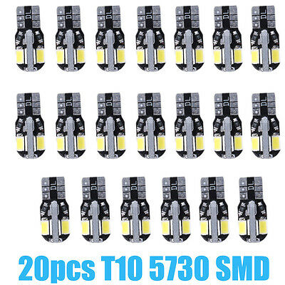 20 X Canbus T10 194 168 W5w 5730 8 Led Smd White Car Side Wedge Light Bulb Hot