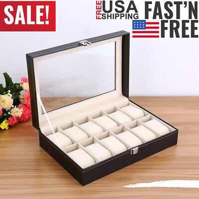 12 Slot Men Watch Box Leather Display Case Organizer Glass Jewelry Storage New