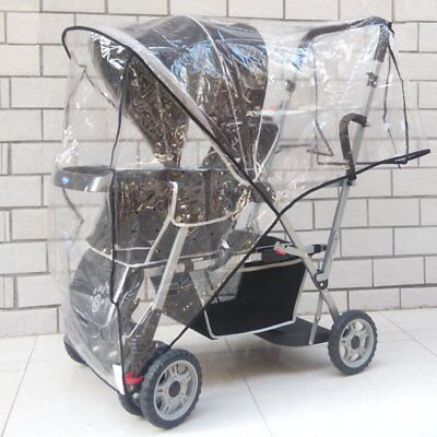 Weather Shield Double for Swivel Wheel Jogger/Stroller Baby Rain Cover Cold City Double Jogger Rain Cover