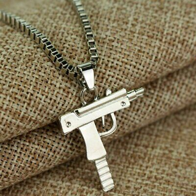Fashion Machine Gun Mens Gold Plated Silver Pendant Chain Hip Hop Punk Necklace Fashion Jewelry