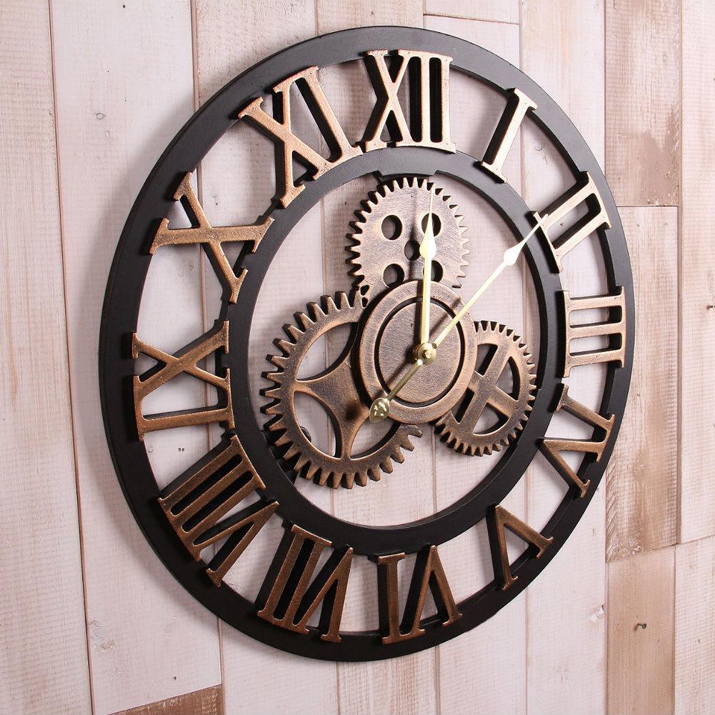 60cm Handmade Large Gear Wall Clock Vintage Rustic Wooden