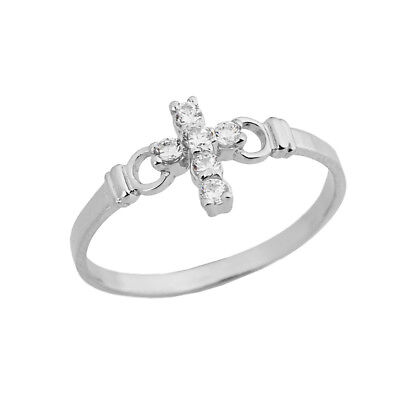 0.15 CTW Ladies Purity Cross Ring with CZ in White Gold