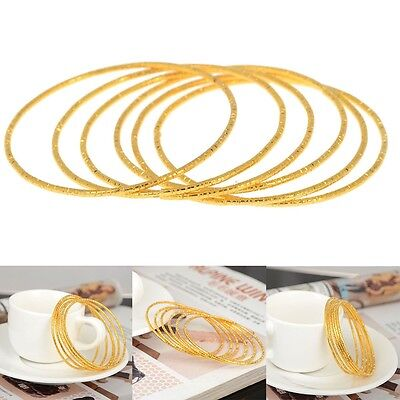 6 Pcs/Set Gold Newborn Baby Cute Children Kid Bangle Toddler Cuff Bracelets New