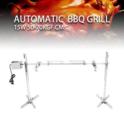 (15W Motor Large Barbecue Grill Rotisserie Spit Roaster Rod Charcoal Camping)