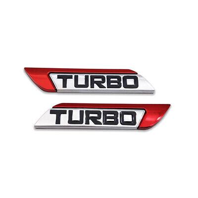 Pair 3D Red Metal TURBO Logo Emblem Side Fender Badge Racing Sport Sticker Decal