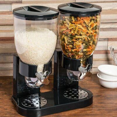 Dispenser Storage Doppio Contenitore Dosatore Distributore Cereali Pasta Nero
