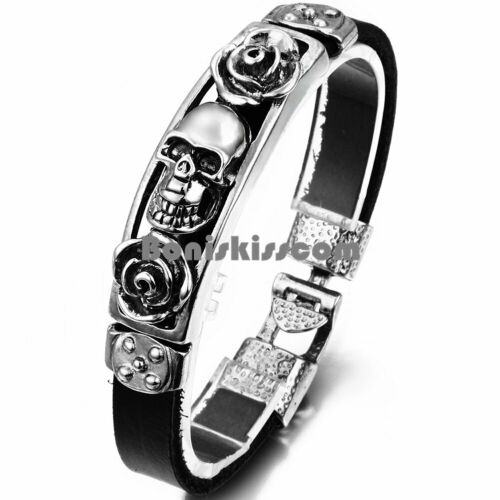Gothic Skull Rose Black Leather Wristband Bangle Cuff Bracel