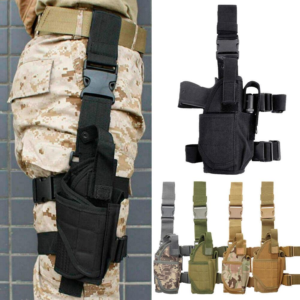Men Thigh Holster Leg Drop Gun Bag CS Miltary Pocket Knife P