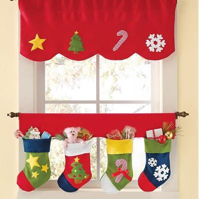 Door Decorate (2PCS Stockings Door Window Curtain Pennant Bunting Valance XMAS Home)