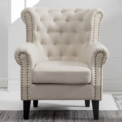Vintage Linen Accent Chair Armchair Books Reading Reception Sofa Wingback Chairs