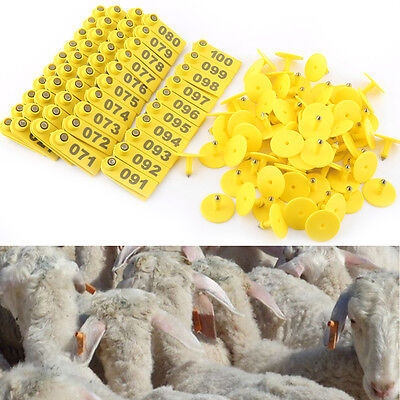 100 Set Sheep Goat Pig Cattle Cow Livestock Ear Number Tag 001 100 Farm Animal