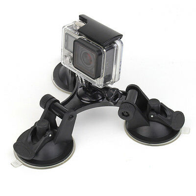 Suction Cup Mount (Low Angle Triple Suction Cup Mount Car Holder Stand for GoPro SJCAM Xiaomi YI 4K)