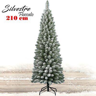 Albero di Natale 210 cm Silvestre Innevato Slim 442 Rami Super Folto Base Croce