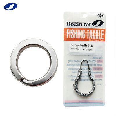 OCEAN CAT 30-400 Pcs 5/6/7/8mm Stainless Steel Double Fishing Split Rings Snaps