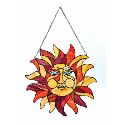 """Sun Face Stained Glass Window Panel - 15"""" x 15"""""""
