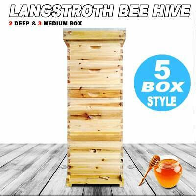 Langstroth Bee Hive 10 Frame 5 Box Beekeeping Kit Honey Bee Hive Metal Roof