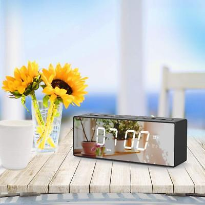 Multi-Functional Digital Mirror Alarm Clock With Radio/USB Port/Thermometer/Time