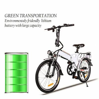 20'' Folding Electric Mountain Bike Bicycle Fat Tire Ebike W/ Lithium battery