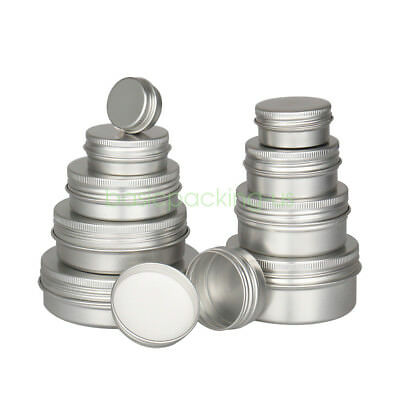 Aluminum Tins (5/10/30/50/100ml Silver Round Aluminum Metal Tin Storage Screw Jars)