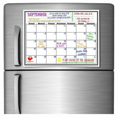 17x11 Monthly Magnetic Refrigerator Calendar Dry Erase Whiteboard Planner Pad