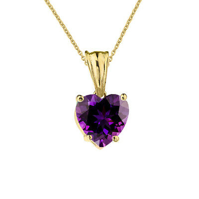 2 CTW Heart Shaped Amethyst Pendant Necklace in 10K Solid Gold