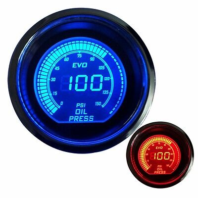 2  52Mm Oil Press Pressure Car Digital Led Meter Gauge Tint Lens Blue Red  7062