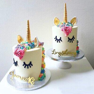 Gold Einhorn Geburtstag Kuchen Topper Horn Ohren Wimpern Set Tortenstecker Dekor ()
