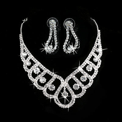 Luxury Wedding Bridal Crystal Rhinestone Necklace Earring Party Prom Jewelry Set for sale  Shipping to Nigeria