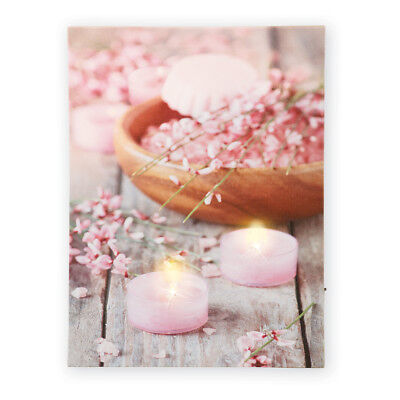 - Pink Floral LED Lighted Candle Canvas Spa Bathroom Decor, by Collections Etc