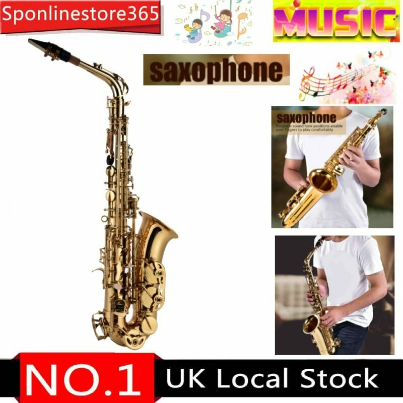 Professional Golden Alto Eb Saxophone Sax Set+Case With Mouthpiece,Grease,Wipe