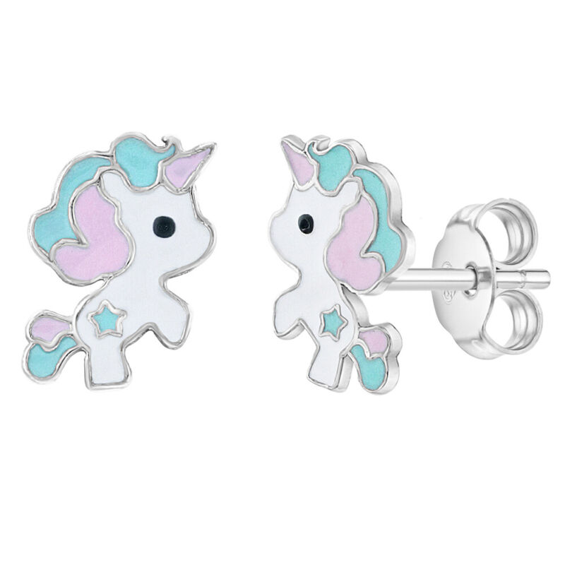 925 Sterling Silver Fun & Fantasy Pastel Enamel Unicorn Earrings for Young Girls