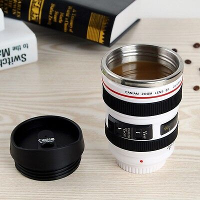 Camera Lens Cup 24 105 White Coffee Tea Mug Stainless Steel Thermos   Lens Lid