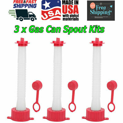3pcs Rubbermade Replacement Gas Can Spout Parts Cap Kit Blitz Plastic Fuel Usa