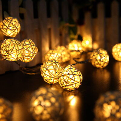 20 LED Rattan Ball String Lights Home Garden Fairy Lamp Party Decor Warm White
