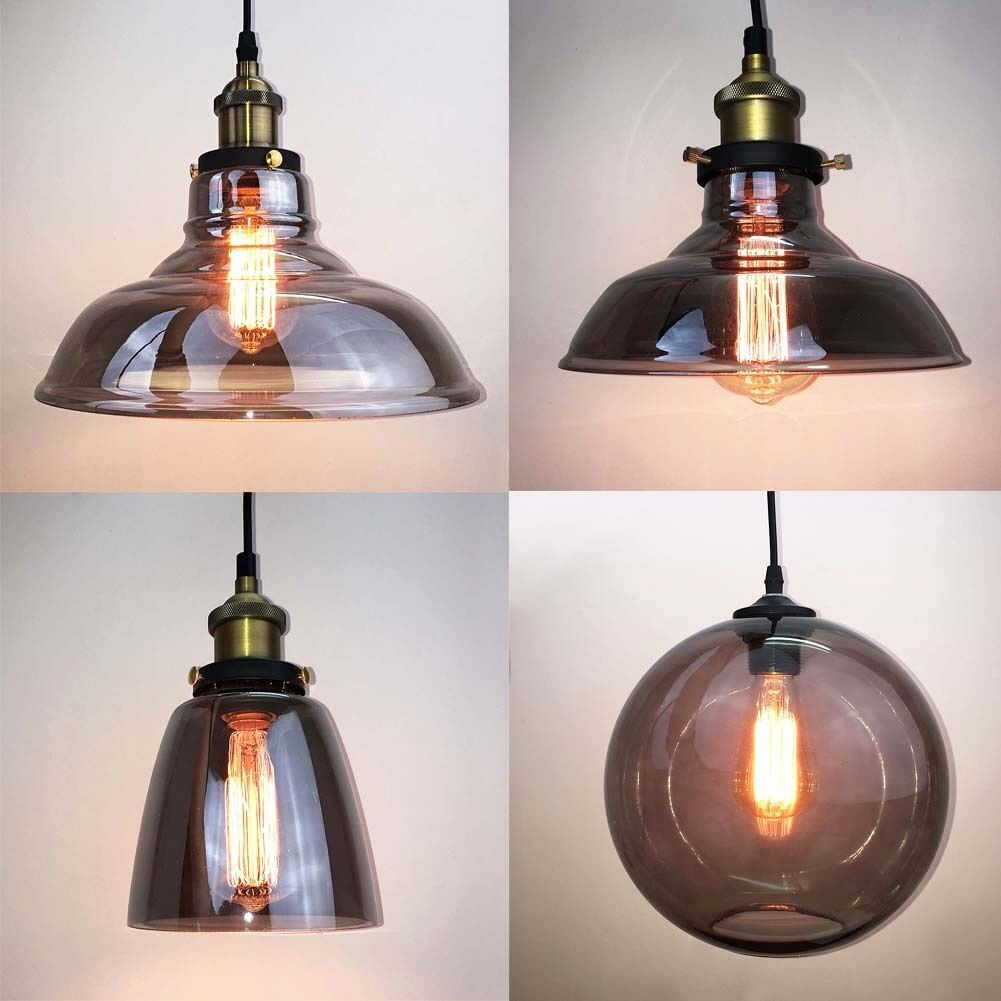 Modern Grey Glass Vintage Pendant Light Shade Lighting