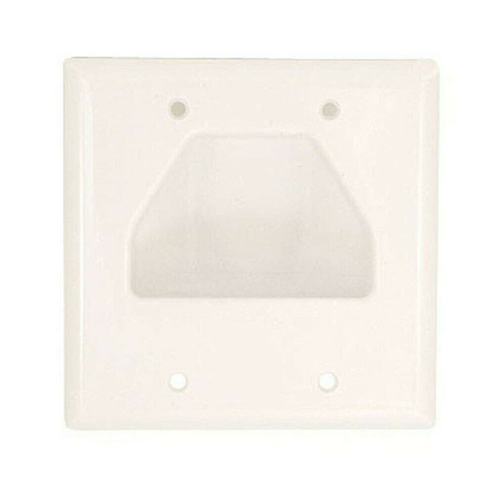 5x Wall Plate Ivory Plastic Hide Wire EZ Mount Recessed Low Voltage Wall Plates