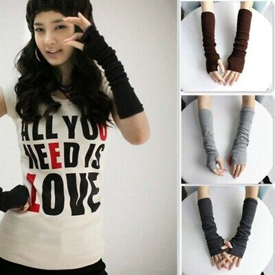 Long Sleeve Black Gloves (1 Pair Women Stretchy Long Sleeve Fingerless Gloves Knitted Arm Warmers)