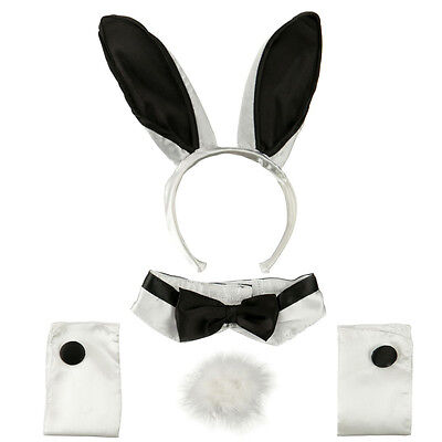 Adult Sexy 5 Piece Deluxe Play Boy Naughty Bunny Rabbit Costume Set Black White