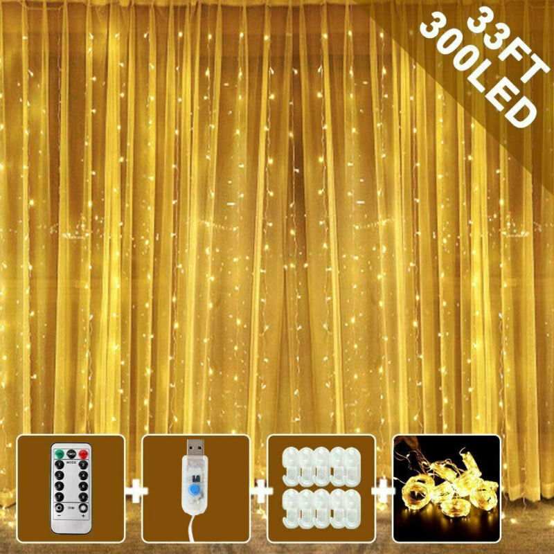 3M LED Fairy Curtain String Lights Hanging Wedding Party Holiday Room Home Decor
