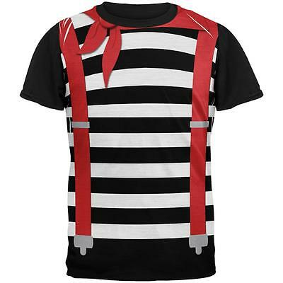 Halloween French Mime Costume All Over Mens Black Back T - Costume All Black