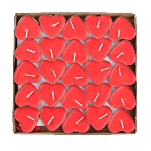 50er The Twiddlers Rote Herzförmige Kerzen Rauchfreie Teelichter Packung